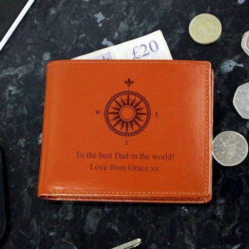 Personalised Compass Tan Leather Wallet from Pukkagifts.uk
