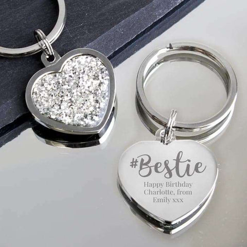 Personalised #Bestie Diamante Heart Keyring,Pukka Gifts