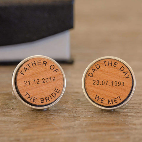 Personalised DAD THE DAY WE MET Wedding Wooden Cufflinks from Pukkagifts.uk