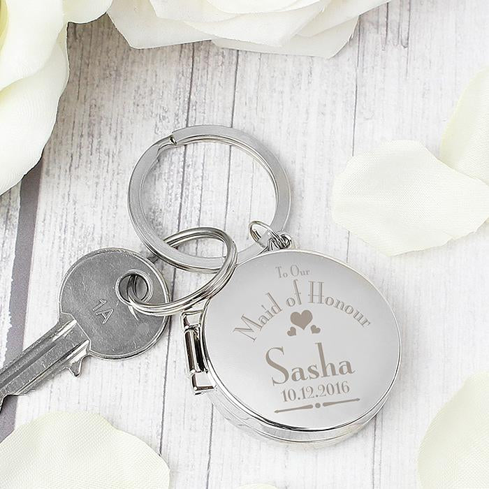 Personalised Decorative Wedding Maid of Honour Round Photo Keyring from Pukkagifts.uk