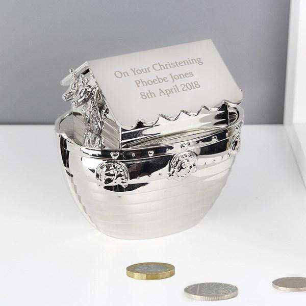 Personalised Silver Noah's Ark Money Box from Pukkagifts.uk