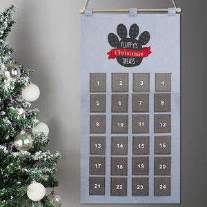 Personalised Pet Pocket Felt Advent Calendar In Silver Grey