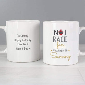 Personalised No.1 Race Fan Mug from Pukkagifts.uk
