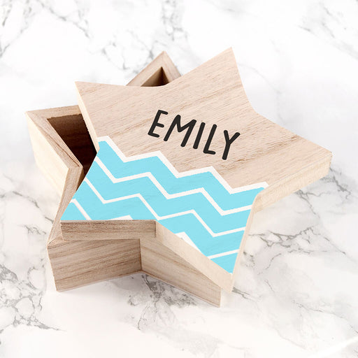 Personalised Blue Zig Zag Star Trinket Box
