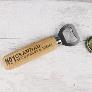 Personalised No.1 Wooden Bottle Opener from Pukkagifts.uk
