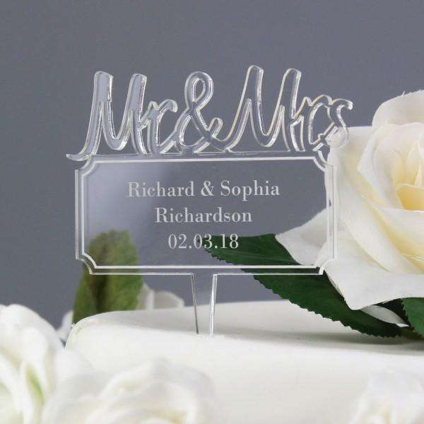 Personalised Mr & Mrs Plaque Acrylic Cake Topper from Pukkagifts.uk