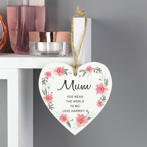 Personalised Floral Sentimental Wooden Hanging Heart Decoration