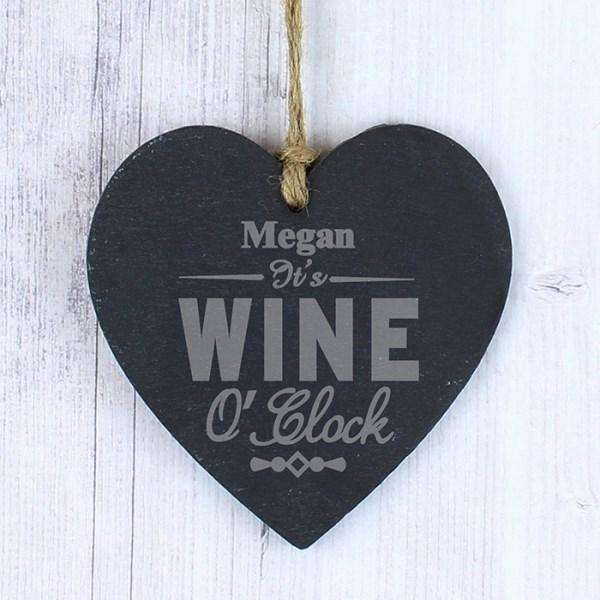 Personalised It's Wine O'Clock Slate Heart Decoration from Pukkagifts.uk