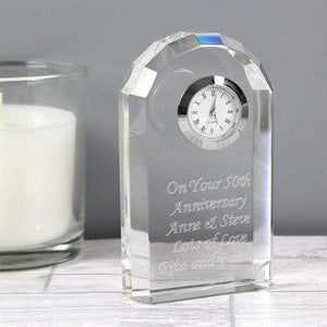 Personalised Crystal Clock from Pukkagifts.uk