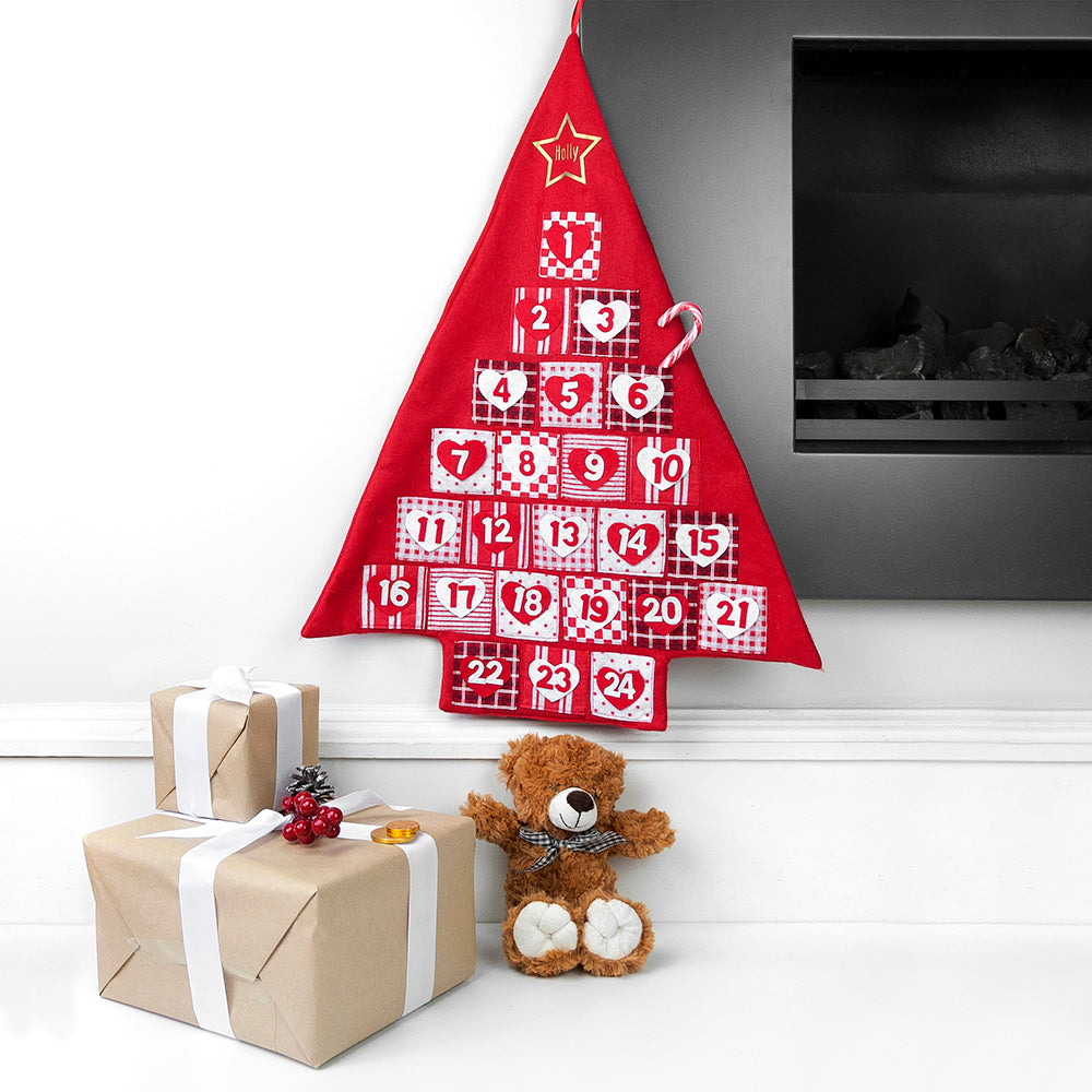 Personalised Christmas Tree Shape Hanging Advent Calendar