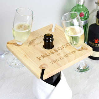 Personalised Prosecco Four Prosecco Flute Glass Holder & Bottle Butler