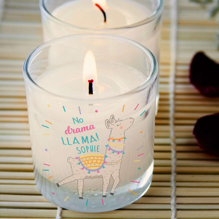 Personalised No Drama Llama Candle Vanilla Scented from Pukkagifts.uk