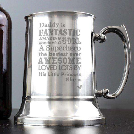 Personalised He Is Super Hero Stainless Steel Tankard from Pukkagifts.uk