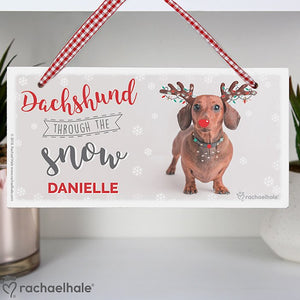 Personalised Rachael Hale Christmas Dachshund Through the Snow Wooden Sign from Pukkagifts.uk