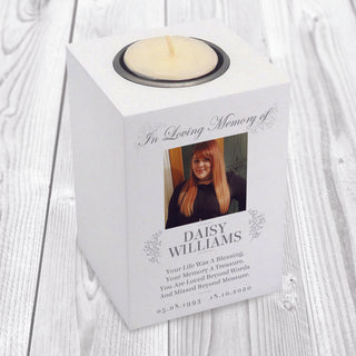 Personalised Photo Memorial Wooden Tea-Light Holder