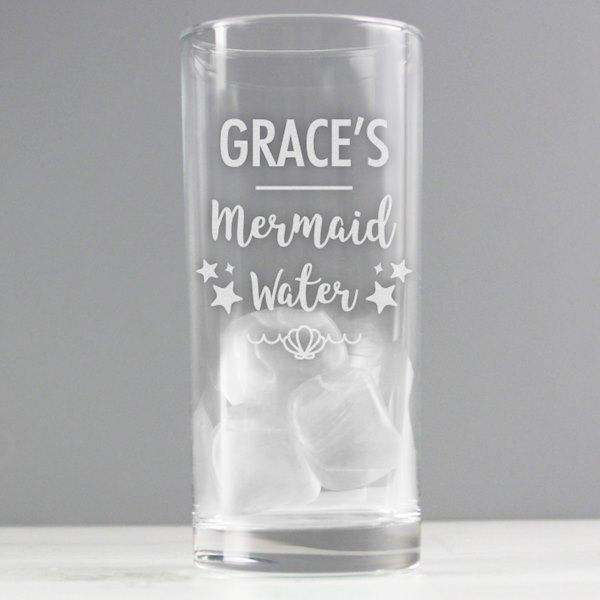 Personalised Mermaid Water Hi Ball Glass from Pukkagifts.uk