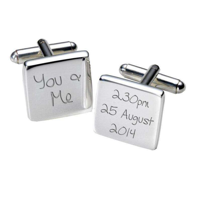 You & Me Engraved Cufflinks - Square from Pukkagifts.uk