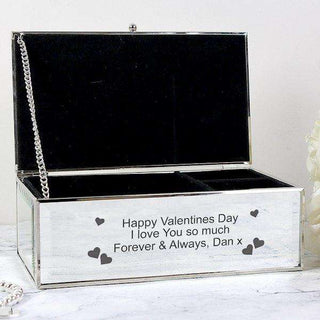 Personalised Hearts Mirrored Jewellery Box from Pukkagifts.uk