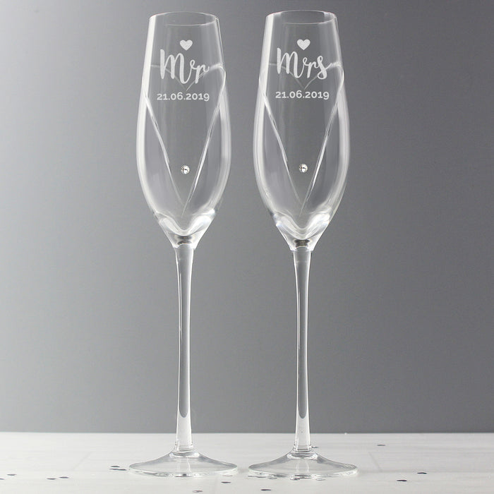Personalised Hand Cut Mr & Mrs Pair of Flutes Glasses with Swarovski Elements in Gift Box