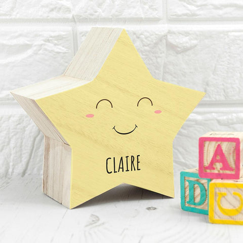 Personalised Smiling Star Pastel Trinket Box - www.pukkagifts.uk