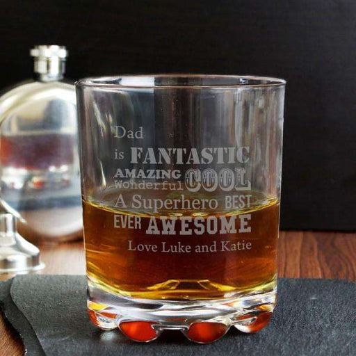 Personalised Superhero Glass Tumbler from Pukkagifts.uk