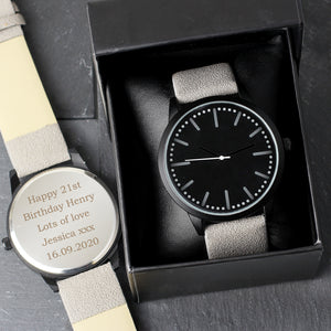 Personalised Mens Matte Black Watch with Grey Strap and Presentation Box