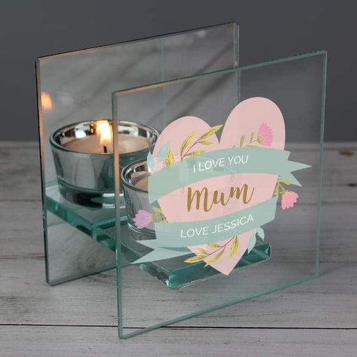 Personalised Floral Heart Mirrored Glass Tea Light Holder from Pukkagifts.uk