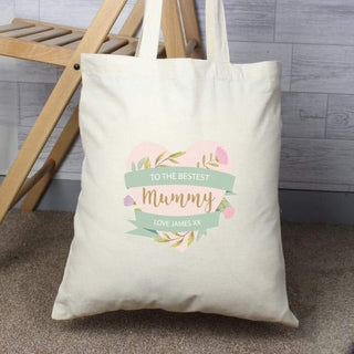 Personalised Floral Heart Cotton Bag from Pukkagifts.uk