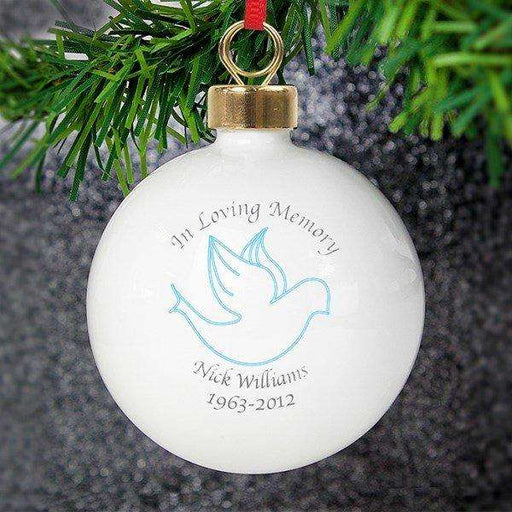 Personalised In Loving Memory Blue Dove Bauble from Pukkagifts.uk