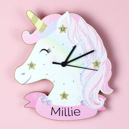 Personalised Unicorn Shape Wooden Clock