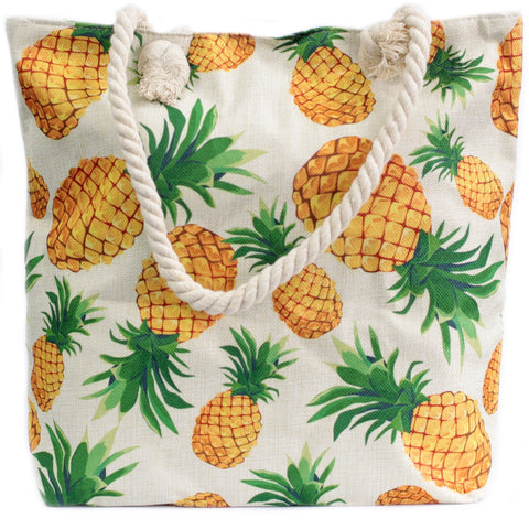 Pineapples Rope Handle Beach Tote Bag