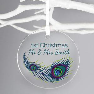 Personalised Peacock Round Acrylic Decoration