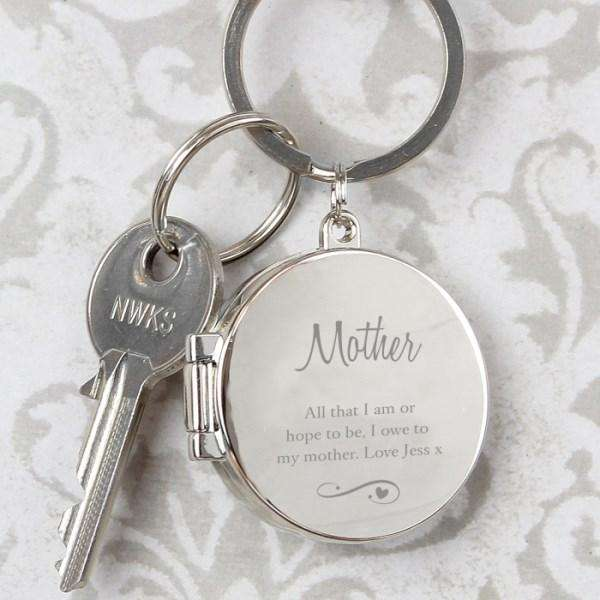 Personalised Swirls & Hearts Photo Locket Keyring from Pukkagifts.uk