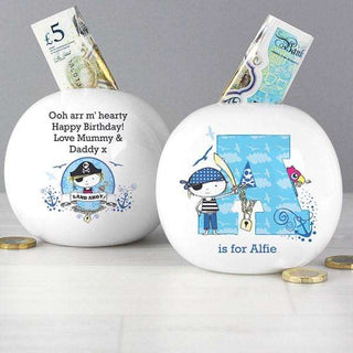 Personalised Pirate Letter Money Box from Pukkagifts.uk
