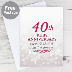 Personalised 40th Ruby Anniversary Card