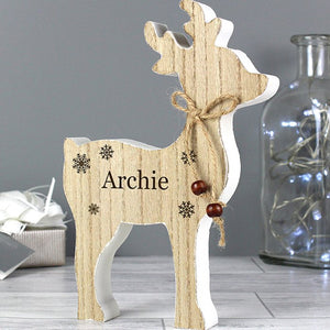 Personalised Any Name Rustic Wooden Reindeer Christmas Decoration from Pukkagifts.uk