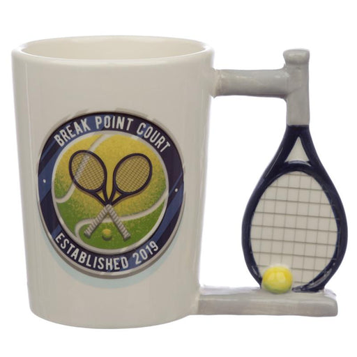 Tennis Shaped Handle Ceramic Mug