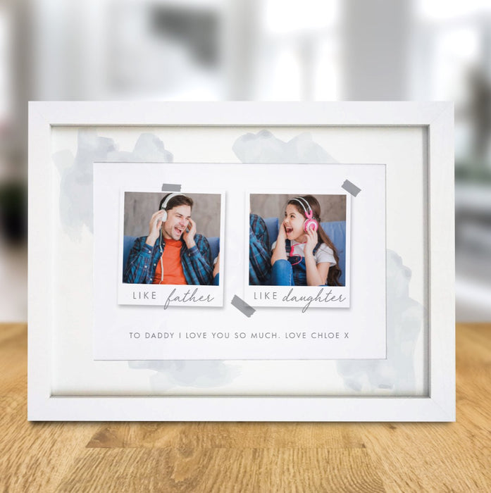 Personalised Like Father Like Daughter Polaroid A4 Framed Print