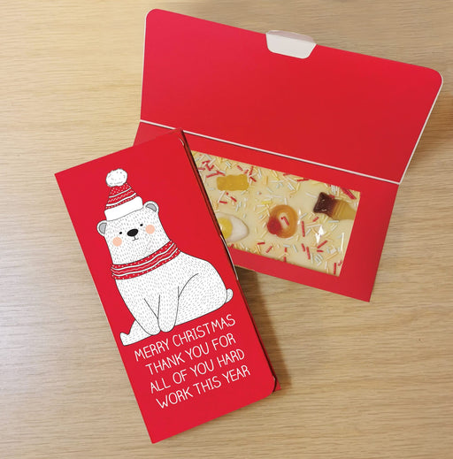 Personalised Polar Bear Letterbox White Chocolate Card