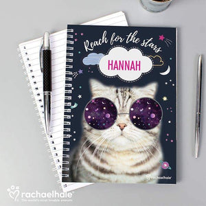 Personalised Rachael Hale Space Cat A5 Notebook from Pukkagifts.uk