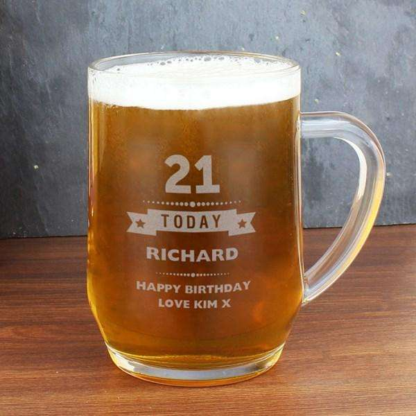 Personalised Birthday Age Male Glass Tankard from Pukkagifts.uk