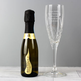 Personalised Cut Crystal Flute Glass and Miniature Prosecco Set