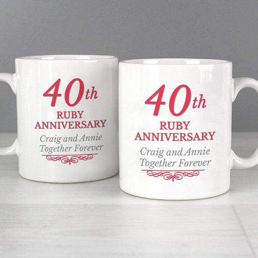 Personalised 40th Ruby Anniversary Mug Set