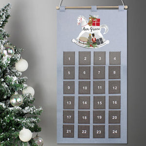 Personalised Pocket Rocking Horse Felt Advent Calendar In Silver Grey
