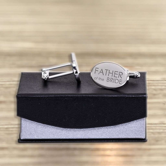 Personalised Silverplated Oval Cufflinks - Grandad Of Groom from Pukkagifts.uk