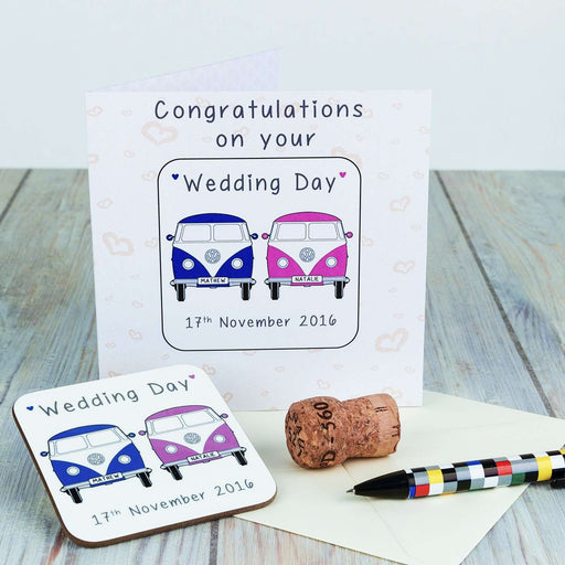 Personalised Coaster Card - Wedding Day from Pukkagifts.uk