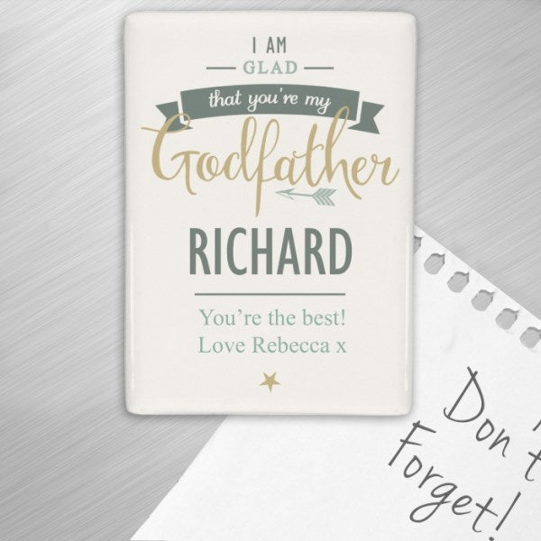 Personalised I Am Glad That You're My Godfather Fridge Magnet from Pukkagifts.uk