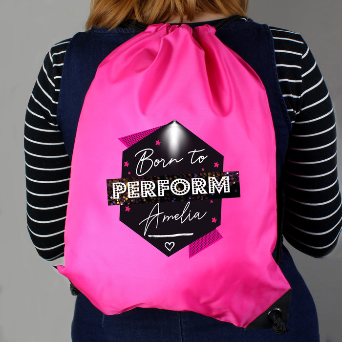 Personalised Born to Perform Pink Kit Drawstring Bag