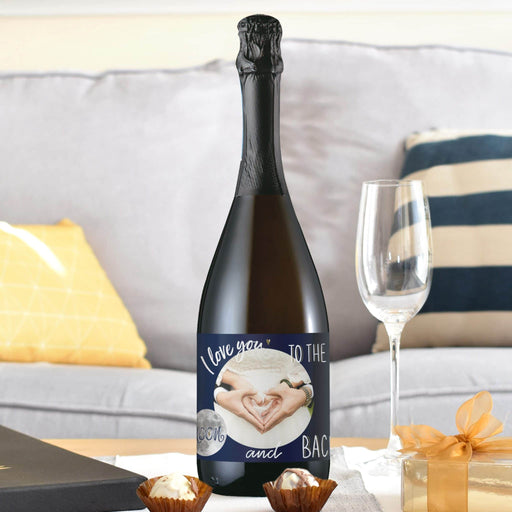 I Love You To The Moon & Back Photo Upload Prosecco Bottle