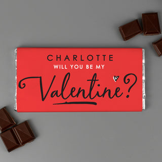 Personalised Will You Be My Valentine Milk Chocolate Bar